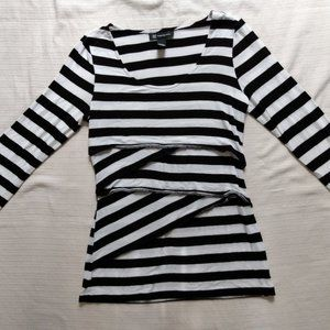 black and white striped tiered tee